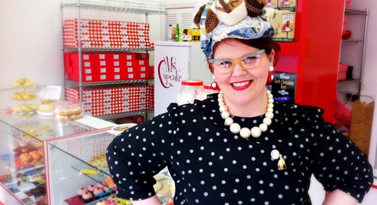 Ms Cupcake Mellissa Morgan in her shop