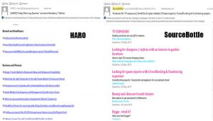 SourceBottle and HARO as they appear in email inbox
