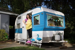 Ilsa Hess from Love and Joy Foods makers of Nacheez in her van for Vegan Business Talk podcast by Katrina Fox