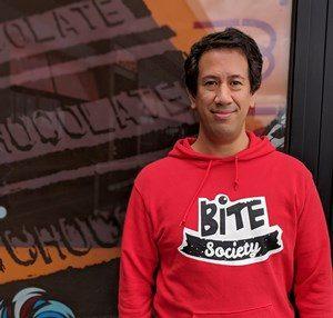 Simon Newstead of Bite Society vegan food product company for Vegan Business Talk with Katrina Fox of Vegan Business Media