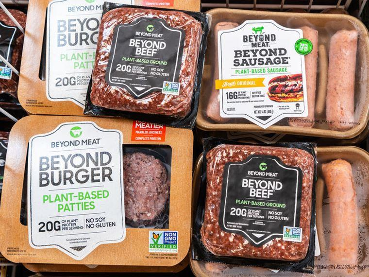 Beyond Meat products on sale in supermarket for Vegan Business Media with Katrina Fox