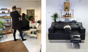 Salon furniture in vegan hairdressers Pixal-Rose Hair Design