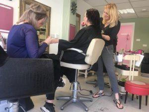 Staff at work at Pixal-Rose Hair Design vegan salon